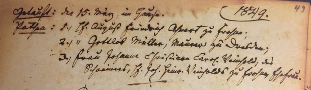 Friedrich August Roth baptism record 2 Concordia Frohna MO