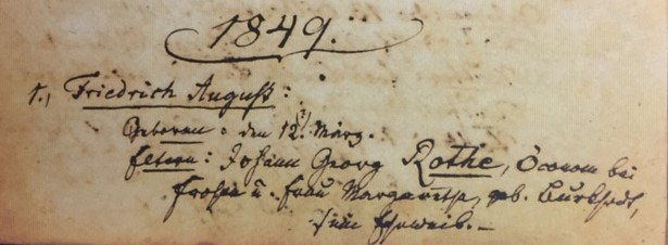 Friedrich August Roth baptism record Concordia Frohna MO