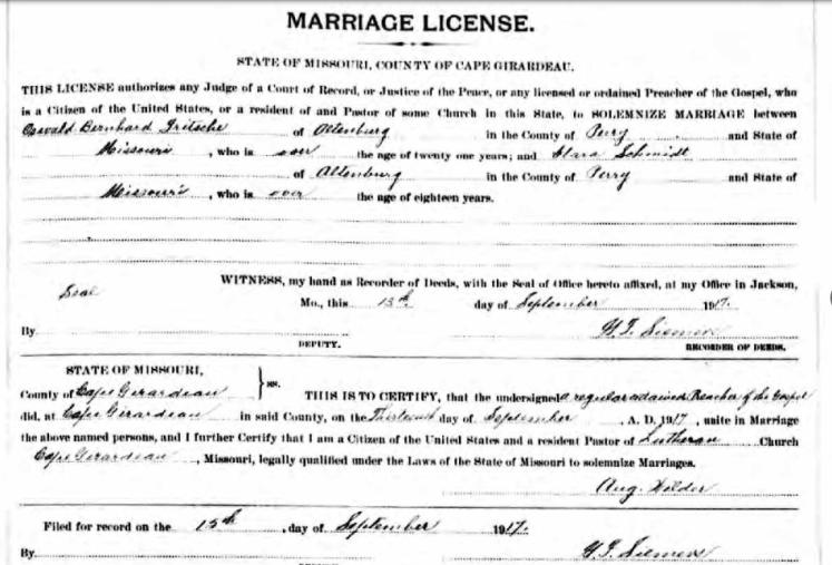 Fritsche Schmidt marriage license
