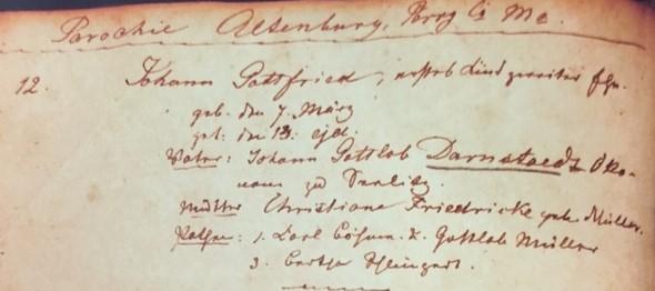 Gottfried Darnstaedt baptism record Trinity Altenburg MO