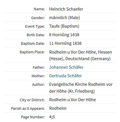 Heinrich Schaefer baptism record Rodheim Germany