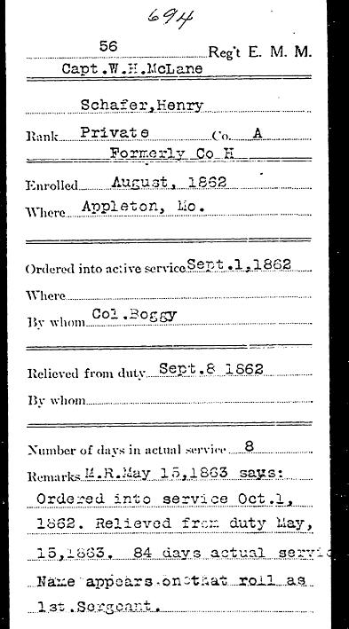 Henry Schaefer Civil War Record 1