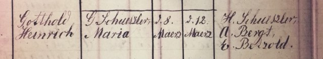 Henry Schuessler baptism record Concordia Frohna MO