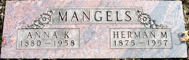 Herman and Anna Mangels gravestone Restlawn Coffeyville KS