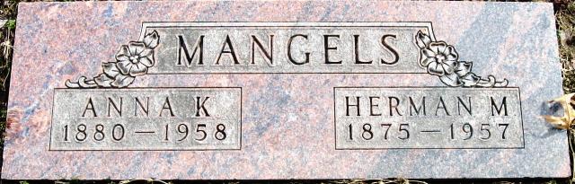 Herman and Anna Mangels gravestone Restlawn Coffeyville KS
