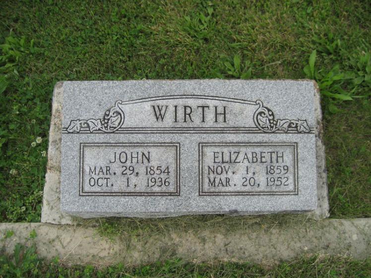 John and Elizabeth Wirth gravestone Immanuel Perryville MO