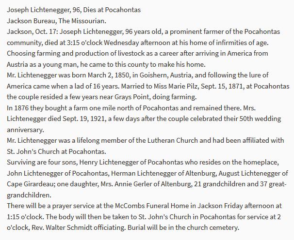 Joseph Lichtenegger obituary