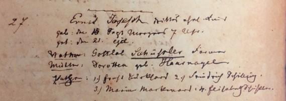 Joseph Schuessler baptism record Trinity Altenburg MO