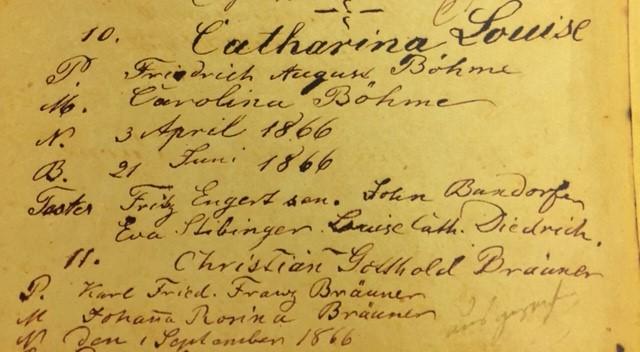 Katharine Boehme baptism record Immanuel Altenburg MO