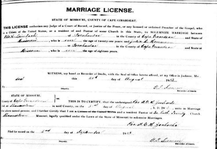 Leimbach Hemmann marriage license