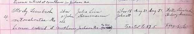 Leimbach Hemmann marriage record Trinity Shawneetown MO