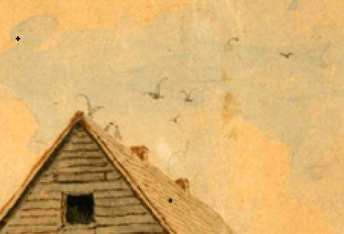 Loeber parsonage painting birds on the roof
