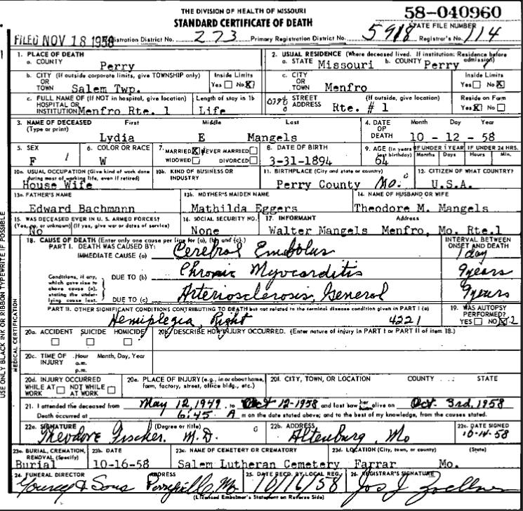 Lydia Mangels death certificate