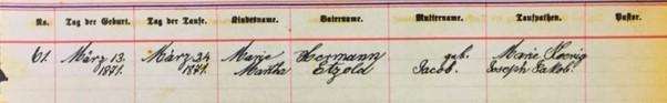 Martha Etzold baptism record Salem Farrar MO