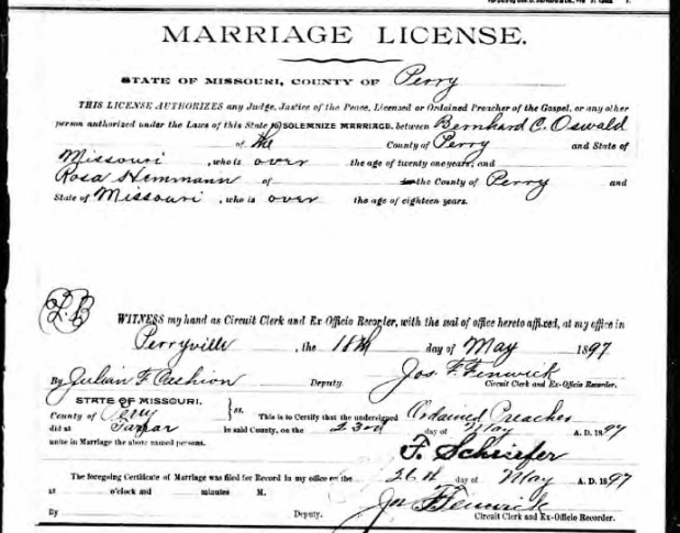 Oswald Hemmann marriage license