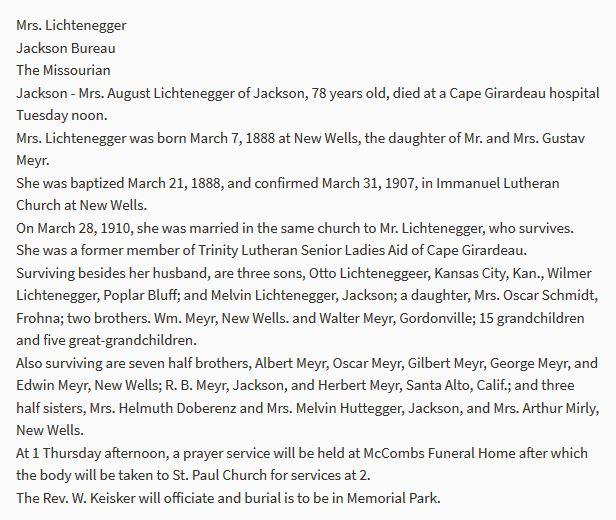 Ottilie Lichtenegger obituary