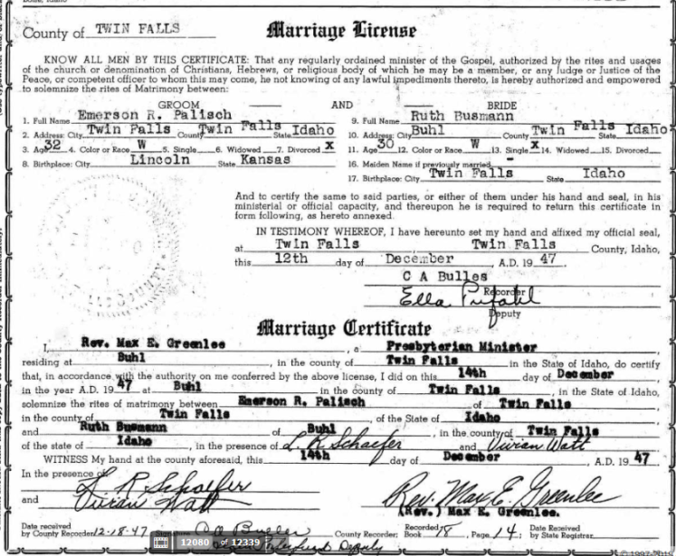 Palisch Busmann marriage license ID