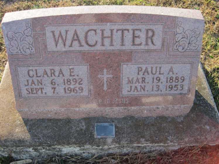 Paul and Clara Wachter gravestone Trinity Altenburg MO
