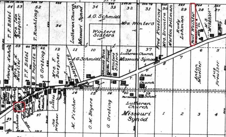 Paul Wachter land and shop 1915 map