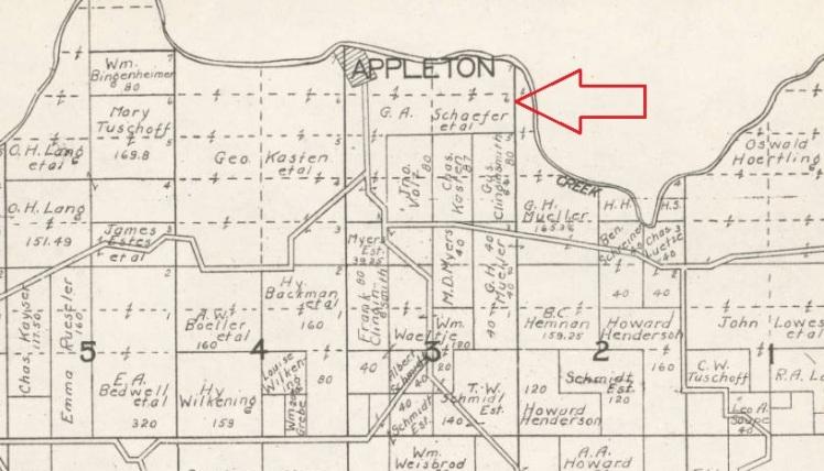 Schaefer land Appleton 1930 map