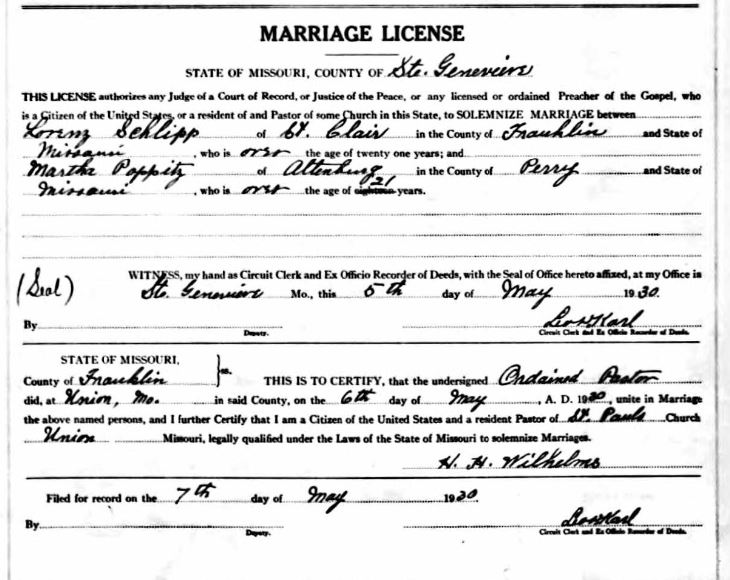 Schlipp Poppitz marriage license
