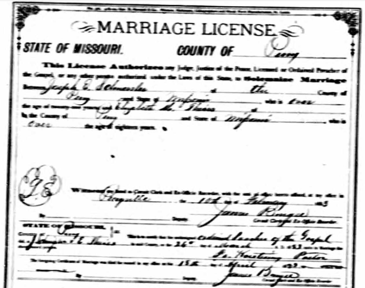 Schuessler Theiss marriage license