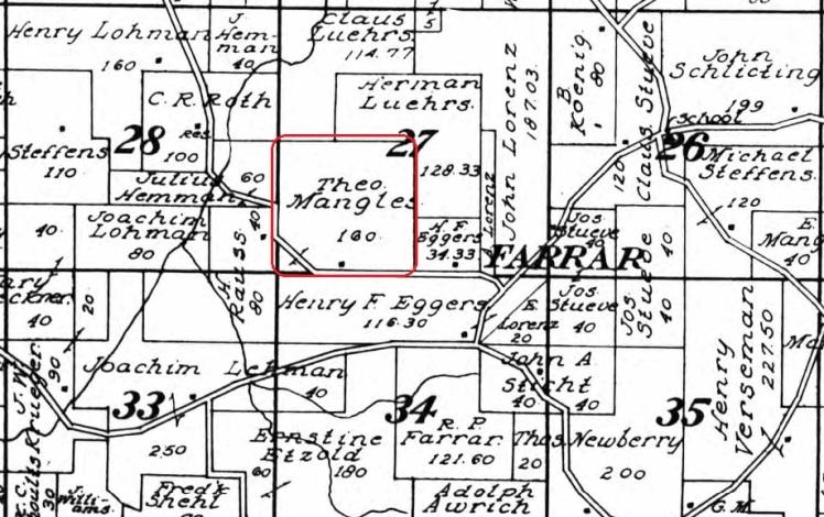 Theodore Mangels land map 1915