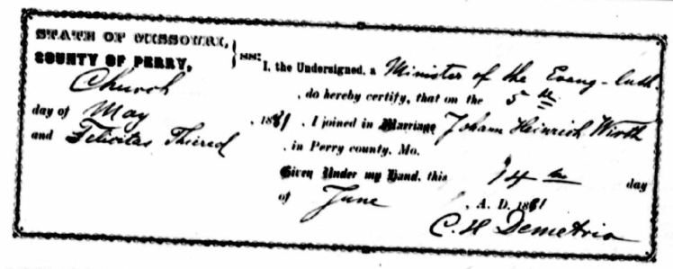 Wirth Thieret marriage record Perry County MO