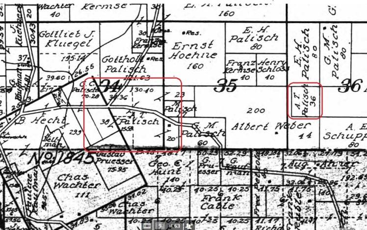 A T Palisch land map 1915