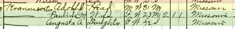 Adolph Kranawetter 1910 census Shawnee Township MO