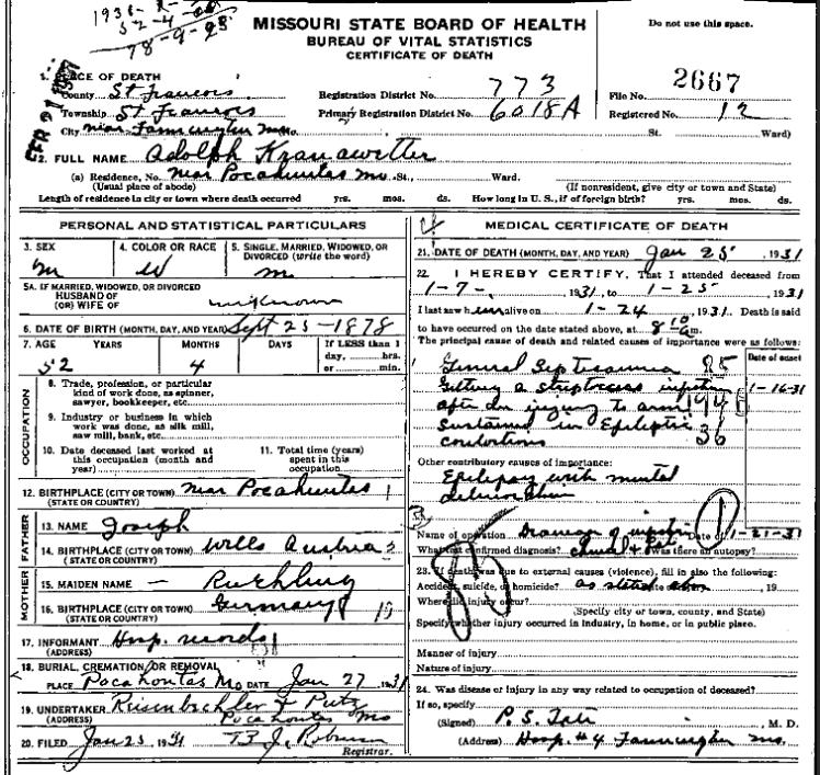 Adolph Kranawetter death certificate