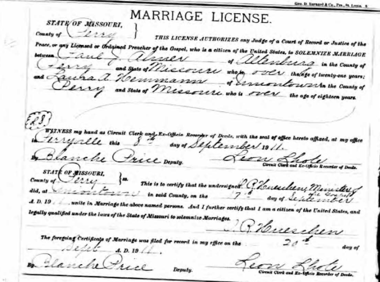 Ahner Hemmann marriage license