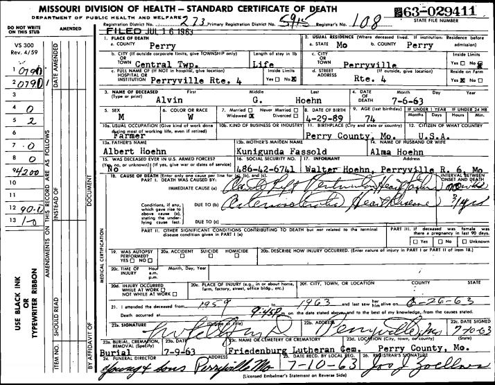 Alvin Hoehn Death Certificate