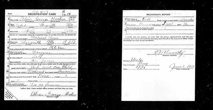 Alvin Hoehn WWI Registration