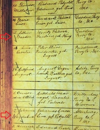 Arthur and Magdalena Palisch baptism records Immanuel Altenburg MO