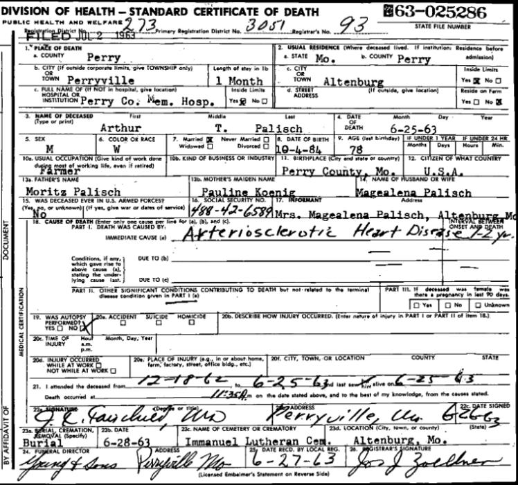 Arthur Palisch death certificate