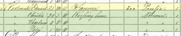 August Edward Rodewald 1870 census Cinque Hommes Township MO