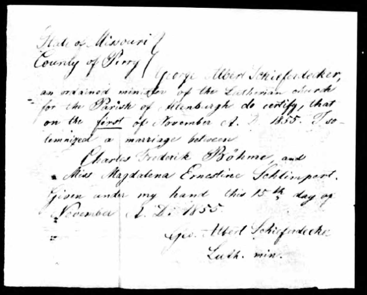 Boehme Schlimpert marriage record Perry County MO