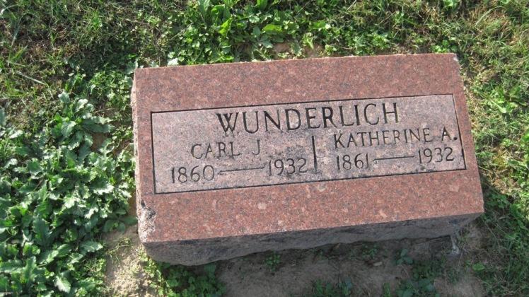 Carl and Katherine Wunderlich gravestone Trinity Shawneetown MO