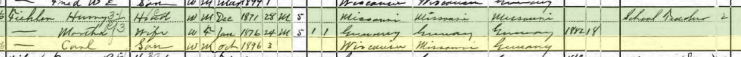 Carl Henry Fiehler 1900 census Columbus WI
