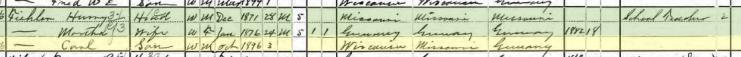 Carl Henry Fiehler 1900 census Columbus WI