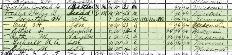 Carl Henry Fiehler 1920 census Brazeau Township MO