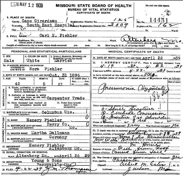 Carl Henry Fiehler death certificate