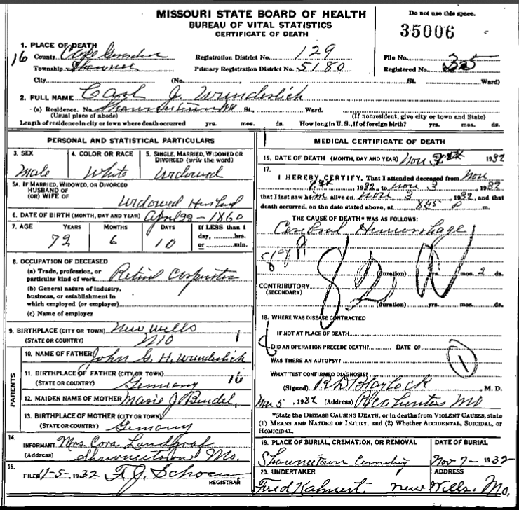 Carl Wunderlich death certificate