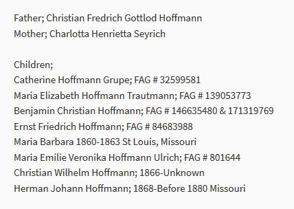 Christian Friedrich Ernst Hoffmann findagrave info Concordia St. Louis MO