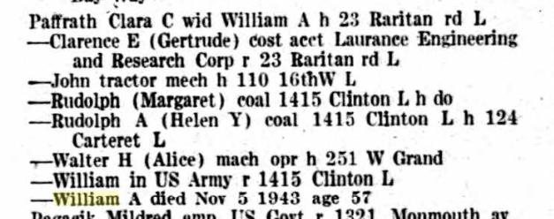 Clara Paffrath Elizabeth NJ city directory 1944