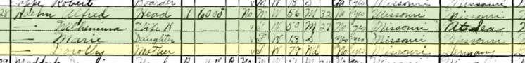 Dorothea Hoehn 1930 census Central Township MO