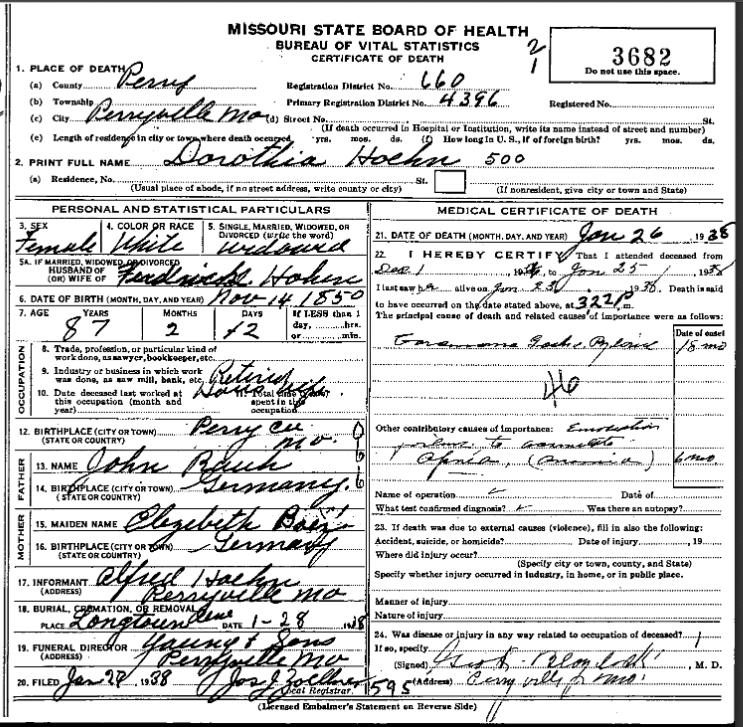 Dorothea Hoehn death certificate