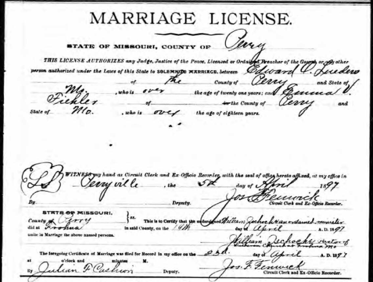 Edward Lueders Emma Fiehler marriage license