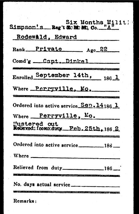 Edward Rodewald Civil War record